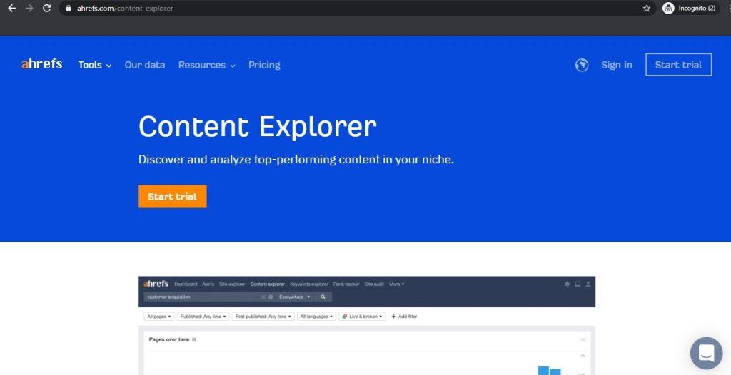 Ahrefs Content Explorer